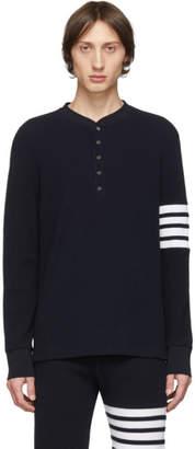 Thom Browne Navy 4-Bar Long Sleeve Henley