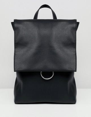 Asos Design DESIGN ring flap backpack-Black