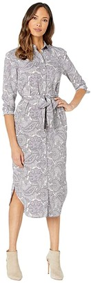 Lauren Ralph Lauren Belted Shirtdress (Mascarpone Cream Multi) Women's Dress