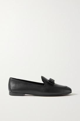 Salvatore Ferragamo Lesley Bow-embellished Leather Loafers - Black