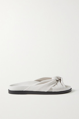 PORTE & PAIRE Knotted Leather Slides - White