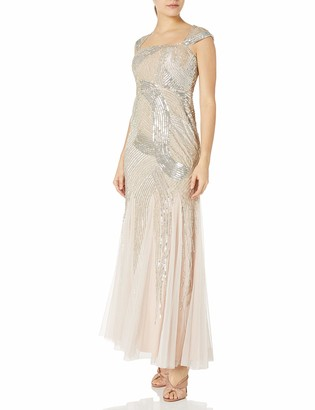 Adrianna Papell Women's Petite Cap Sleeve Fully Beaded Gown