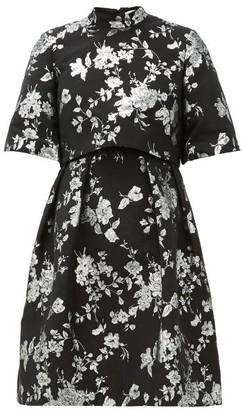 Erdem Favilla Cape-back Brocade Mini Dress - Black Silver
