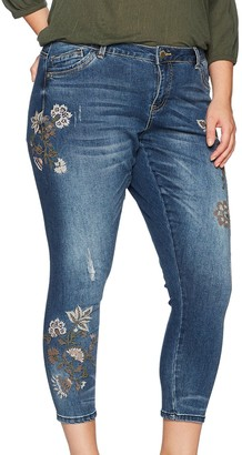 """Democracy Women's Plus-Size Seamless Ankle Skimmer with Embroidery 27"""" Inseam"""