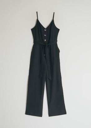 Stelen Women's Linnea Button Down Jumpsuit in Black, Size Small | Spandex