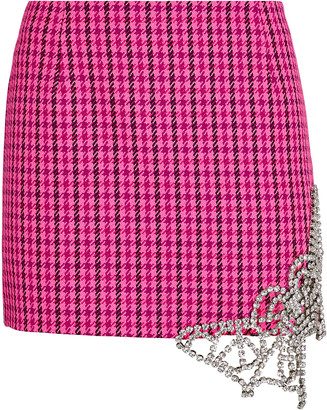 Area Crystal Butterfly Houndstooth Mini Skirt