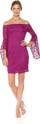 Bebe Women's Missy Magenta Lace Off The Shoulder Dress with Bell Sleeve 8