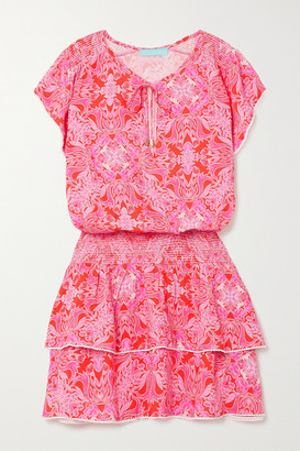 Melissa Odabash Keri Ruffled Crochet-trimmed Floral-print Voile Mini Dress - Pink