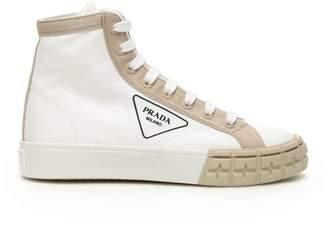 Prada Logo High Top Sneakers