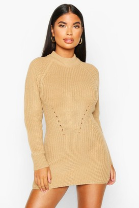 boohoo Petite Ribbed Knitted Jumper Dress