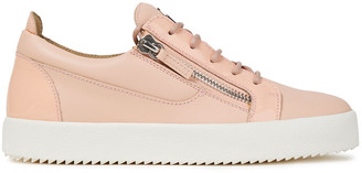 Giuseppe Zanotti Zip-detailed Patent-trimmed Leather Sneakers