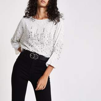 River Island Womens White sequin batwing top
