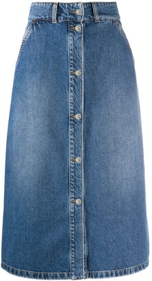 MSGM denim A-line skirt