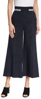 Peter Pilotto Metallic-Striped Wide-Leg Pants, Navy