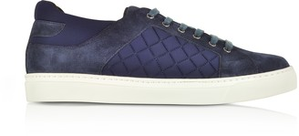 Fratelli Borgioli Navy Blue Suede and Quilted Nylon Men's Sneakers