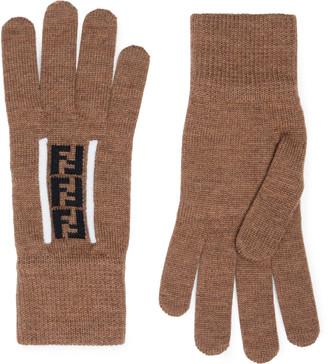 Fendi Logo-Jacquard Virgin Wool Gloves - Men - Brown