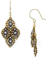 Miguel Ases Beaded Four Leaf Drop Earrings