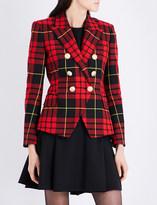 Balmain Tartan double-breasted wool-twill blazer