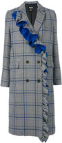 MSGM frilled checked double-breasted coat - women - Cotton/Polyester/Viscose/Virgin Wool - 40