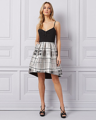 Le Château Check Print Twill High-Low Dress