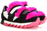 Dolce & Gabbana Fur-embellished suede and mesh sneakers