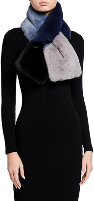 Jocelyn Colorblock Faux-Fur Pull-Through Scarf