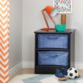 South Shore Libra Laminated Particleboard Nightstand in Pure Black with 2 Baskets