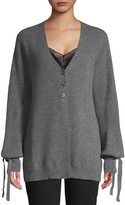 Raffi Ribbed Puff-Sleeve Cashmere Cardigan Sweater