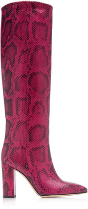 Paris Texas Slouchy Python-Effect Leather Knee Boots