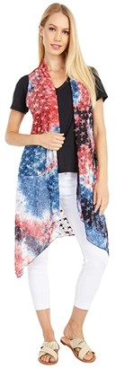 Scully Layla Patriotic Sheer Vest (Red/White/Blue) Women's Clothing