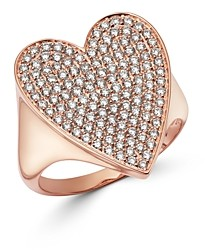 Bloomingdale's Pave Diamond Heart Ring in 14K Rose Gold, 1.0 ct. t.w. - 100% Exclusive