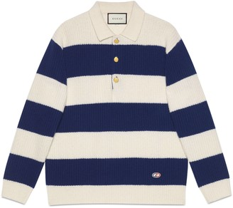 Gucci Striped wool polo with GG patch