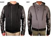 Hudson Outerwear Men's 'Moto' Fleece Leather Sleeve Hoodie