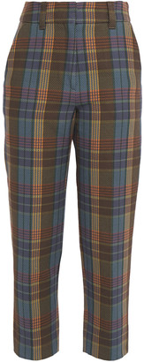 GOEN.J Cropped Checked Cotton-twill Tapered Pants