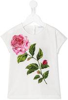 Dolce & Gabbana rose print T-shirt - kids - Cotton - 10 yrs