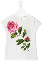 Dolce & Gabbana rose print T-shirt - kids - Cotton - 4 yrs