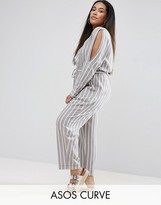 Asos Jumpsuit In Cotton Stripe With Cold Shoulder