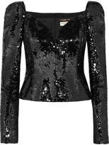 Saint Laurent Sequined Crepe Top - Black