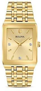 Bulova Futuro Quadra Gold-Tone Link Bracelet Watch, 30mm x 45mm