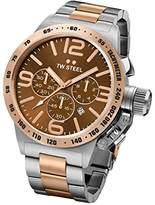 TW Steel Canteen Men's Quartz Watch with Brown Dial Chronograph Display and Grey Stainless Steel Rose Gold Plated Bracelet CB154