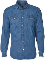 Jack and Jones Men's Originals New One Long Sleeve Denim Shirt - Dark Blue