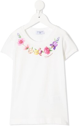 MonnaLisa floral-embroidered T-shirt