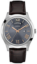 GUESS Leather-Strap Watch with Date Window