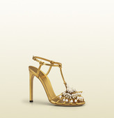 Gucci Phoebe High Heel Sandal With Jeweled Embroidery