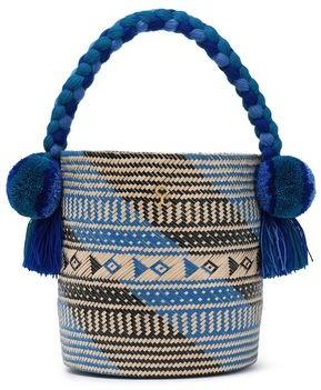 Yosuzi Safira Embellished Straw Bucket Bag