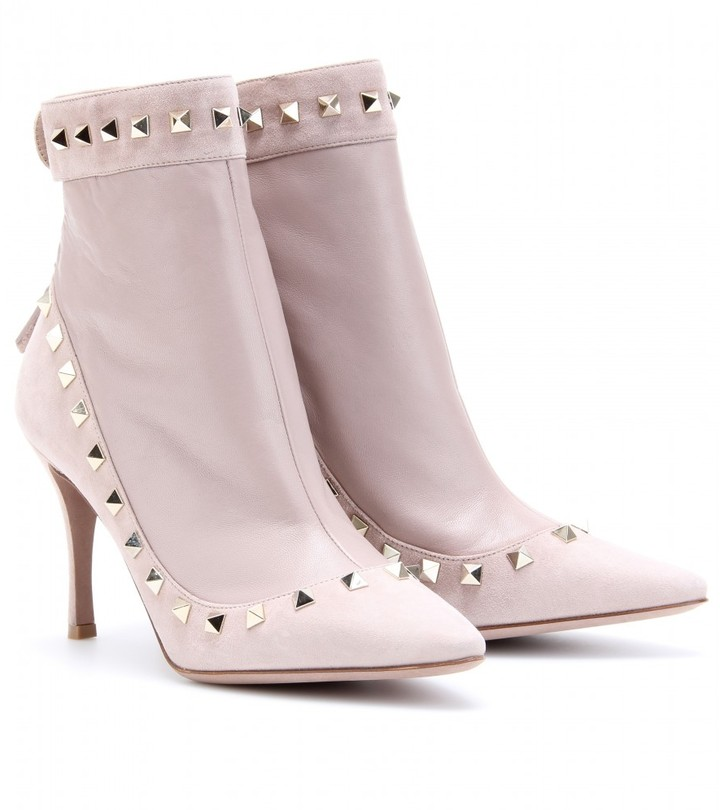 Valentino ROCKSTUD SUEDE AND LEATHER ANKLE BOOTS