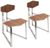 Lumisource Set of 2 Modern Stainless Steel Walnut Flight Chairs
