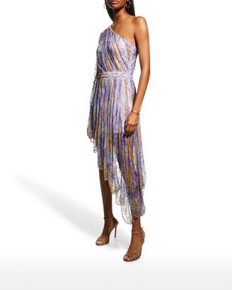 Raisa Vanessa Watercolor Strass-Embellished One-Shoulder Dress