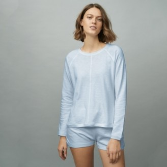 The White Company Organic Cotton Lounge Loopback Sweater, Pale Blue, Extra Small