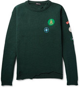 Raf Simons - Appliquéd Distressed Ribbed Virgin Wool Sweater